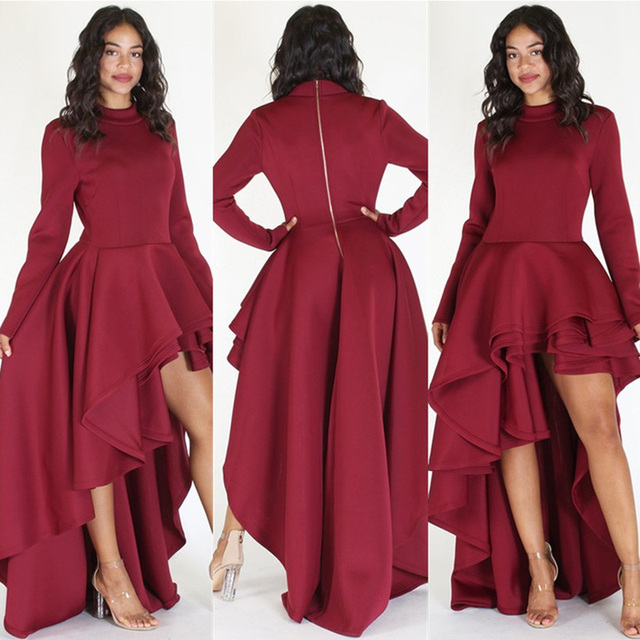 Women Elegant Evening Party Maxi Dresses Fashion Long Sleeve Zipper ...