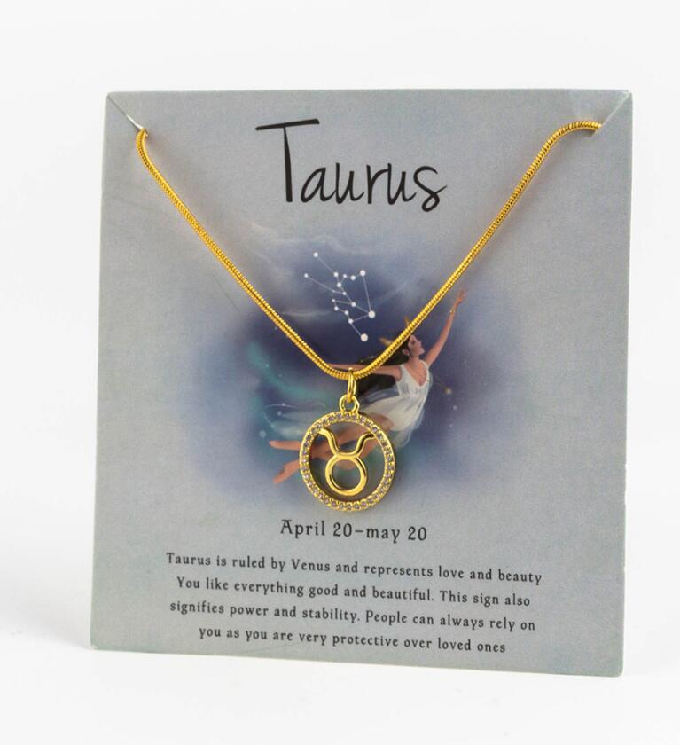 Ожерелье с подвеской в виде животных 12 созвездий для женщин, чокер для пар, массивная цепочка, ожерелье золотого цвета, Знак зодиака с коробкой для карт - Окраска металла: 12