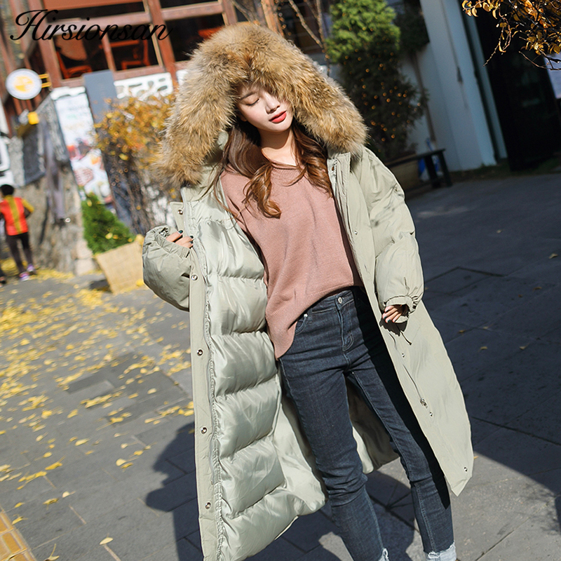 Hirsionsan Large Real Raccoon Fur Oversized Winter Coat Women 2017 Hooded X-Long Jacket Female Thick Warm Cotton Parka Outwear цены онлайн