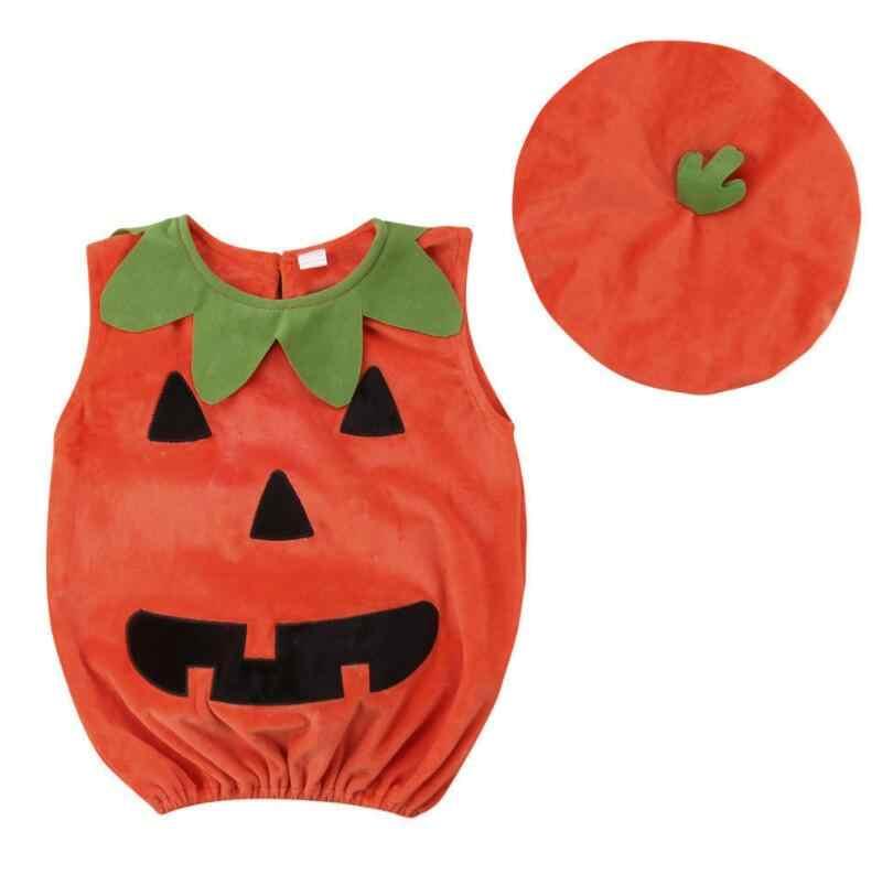 Halloween calabaza monos de niño sin mangas disfraces Cosplay 2019 bebé Romper ropa 0-3y Tops + sombreros Halloween ropa de niño