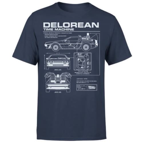 Back To The Future DeLorean Schematic   T  -  Shirt   - Navy New   T     Shirts   Funny Tops Tee New Unisex Funny Tops