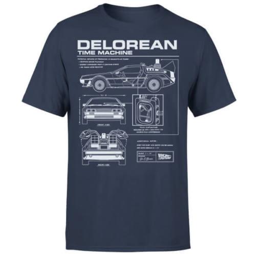 Volta Para O Futuro DeLorean Esquemático T-Shirt Marinho-Nova T Camisas Engraçadas de T Topos Nova Unisex Engraçado Tops