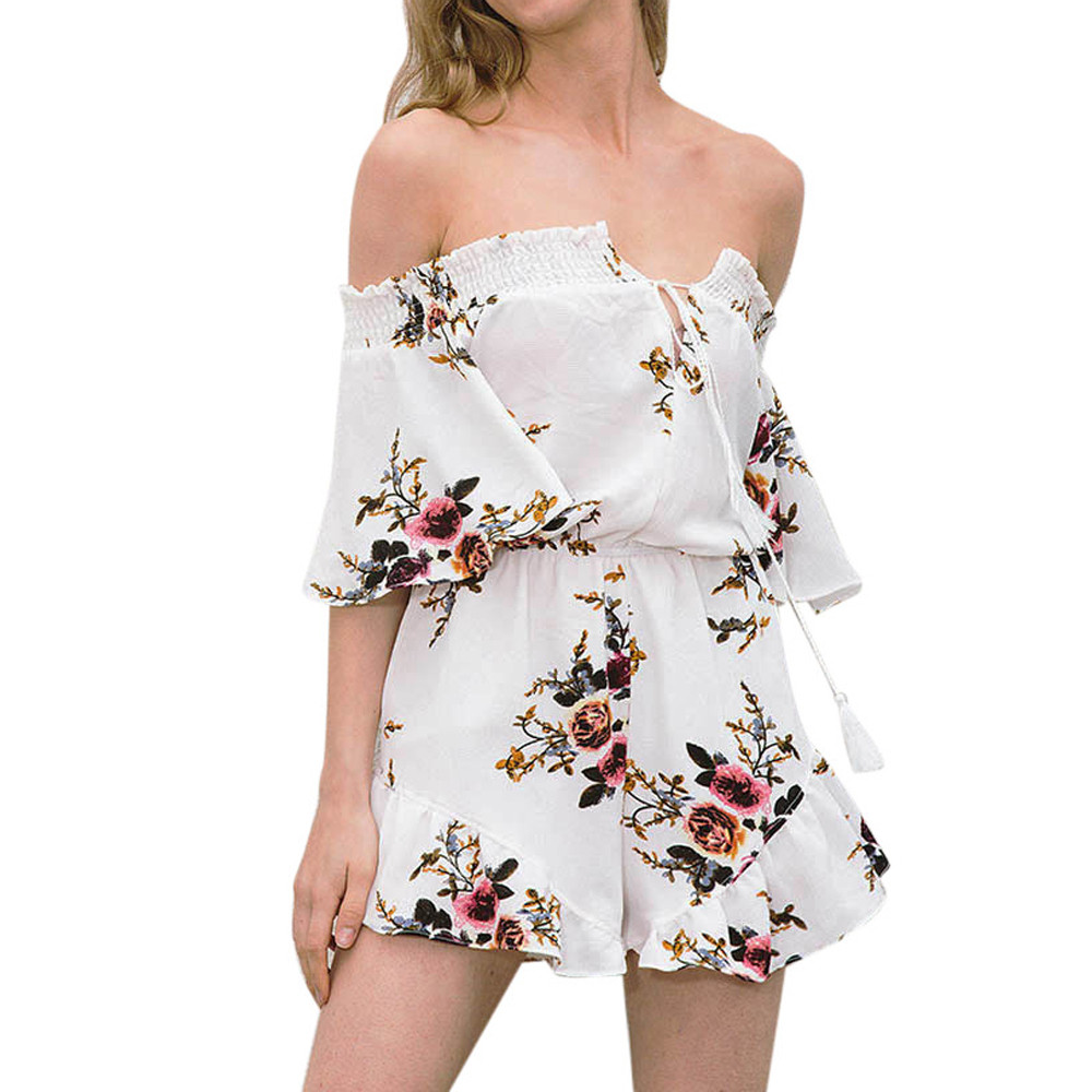 MAXIORILL Floral Jumpsuit Bodycon Off-Shoulder Women NEW Print T3