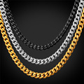 3MM Stainless Steel Cuban Link Chain Necklace Wholesale Black Gun/Gold Plated Chain Men/Women Jewelry GN2273