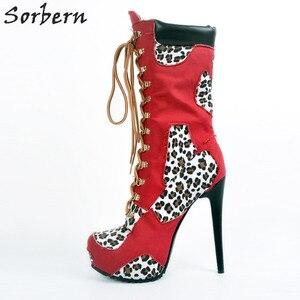 Image 2 - أحذية نسائية للشتاء بمقاسات كبيرة لون أزرق وأحمر عالية الكعب من قماش الدنيم بأربطة أحذية مثيرة للحفلات Zapatos موهير موهير تخفيضات كبيرة