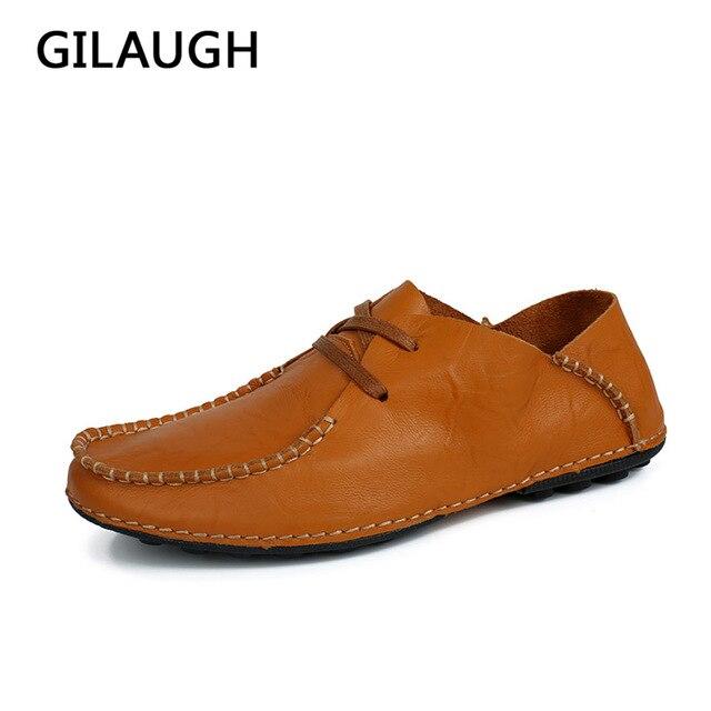 7f0fcee1df8f6 Moda Skóra Naturalna Mężczyźni buty w stylu casual Czarny Brązowy Mężczyźni  Mieszkania Moda skórzane mokasyny Mężczyźni