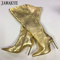 JAWAKYE Golden Pointed Over the Knee Woman Boots Super High Heel Shoes Women tency Mirror Party leather Boots for women