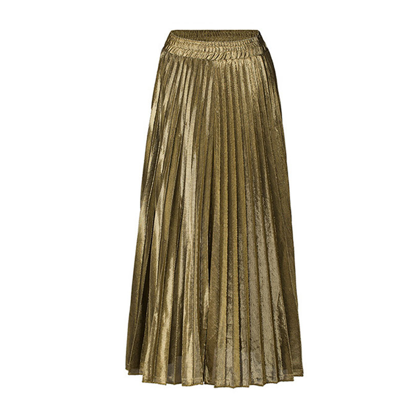 d3617bea2e1 US $8.36 51% OFF|2018 New Summer Suede Skirt gold silver Long striped  elasticity Pleated Skirts Womens Saias Midi Faldas Vintage Women Midi  Skirt-in ...