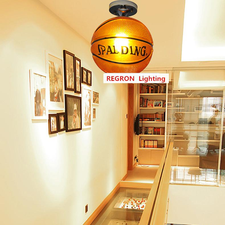 Regron Ludique Plafond Éclairage Brun Verre de Basket-Ball Plafond Lampes Moderne Luminaires Suspendus Enfants de Chambre Enfant Chambre Porche