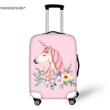 TWOHEARTSGIRL Fresh Unicorn Thick Luggage Protective Covers Stretch Suitcase 3D Printing Kids Trolley Cases Cover for 18-30 inch