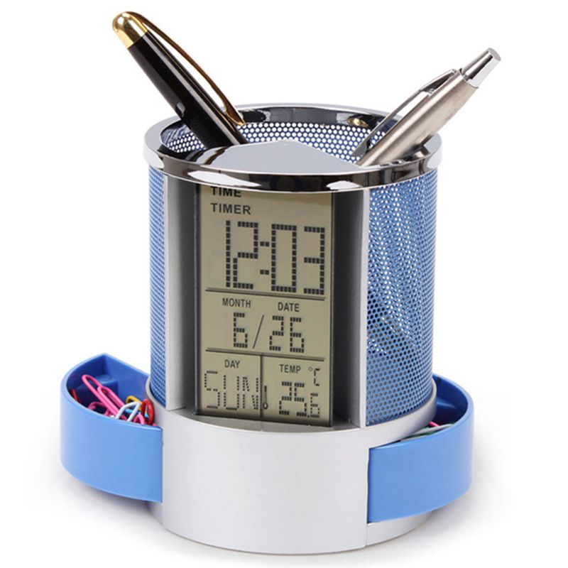Mesh Pen Pencil Holder With Digital Lcd Office Desk Clock With Time Temp Calendar Function