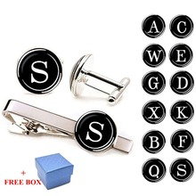 26 Letter A-Z Cufflinks and Tie Clip Set Personalized Letters Print Men Suits Shirt Cufflinks Wedding Gifts Cuff Links Silver new arrival fashion letter a d r h m cufflinks the english alphabet cuff links men shirt charm cufflinks with box wholesale
