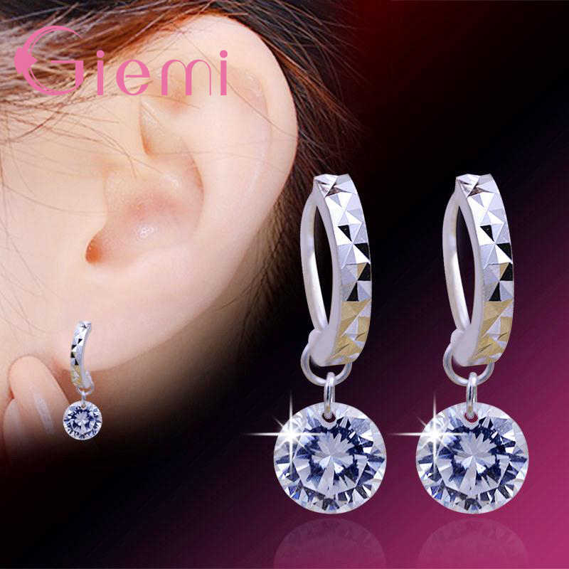 8 Colors Real 925 Sterling Silver High Quality Clear Cubic Zirconia Earrings Pendant For Women Crystal Jewelry Wholesale