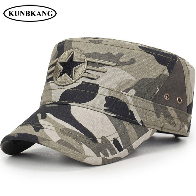 9d810591820 High Quality Camouflage Army Flat Cap US Air Force Baseball Cap Star  Embroidery Bone Men Outdoor Camo Tactical Sport Dad Sun Hat
