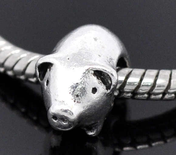 2PCs DoreenBeads European Charm zinc Alloy Antique Silver Pig Beads About 13mmx9mm, Hole about 4.5mm