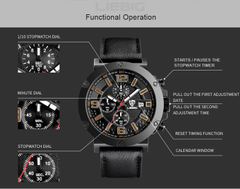 Chronograph Quartz Military Wrist Waterproof Watch 1