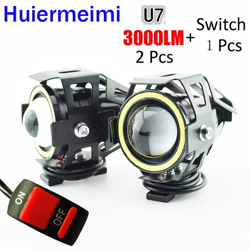 Huiermeimi 2 PCS 125W Motorcycle Headlight 3000ml Moto Driving Auxiliary Head Lamp Light 12V U7 Led Motobike Spotlight Headlamp