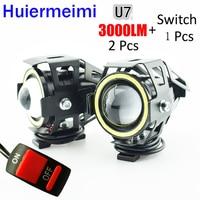 Huiermeimi 2 PCS 125W motorcycle headlight 3000ml moto driving auxiliary head lamp Light 12V U7 led motobike spotlight headlamp|headlamp led -