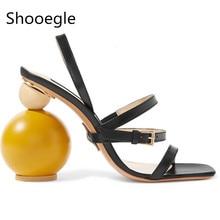 f22952ac21 Moda verão asymmetric high-salto alto mulheres sandálias slingback de couro  cinto fino cinto de
