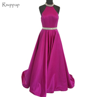 Real Sample Long Evening Dress 2018 Sleeveless Beaded Crystals Belt Backless Purple Women Formal Gowns Special Occasion Dresses