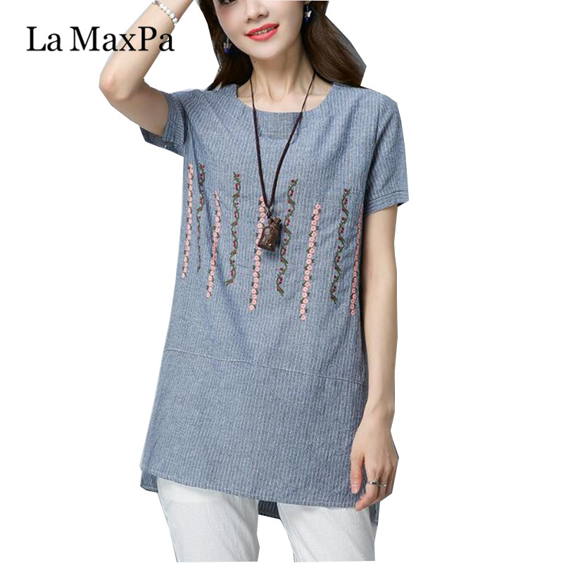 73e07055c Verano algodón Lino blusa mujeres Tops rayas camisa Mujer Vintage bordado  de manga corta señoras ...