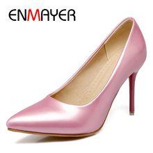 купить ENMAYER  Basic  Super High  Patent Leather  Shoes Woman  Pointed Toe  Casual  Slip-On  Pumps Women Shoes Size 34-45 LY1330 дешево