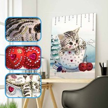 2019 Special Shaped Diamond Painting Cute cat DIY 5D Partial Drill Cross Stitch Crystal Rhinestone Of Picture Embroidery