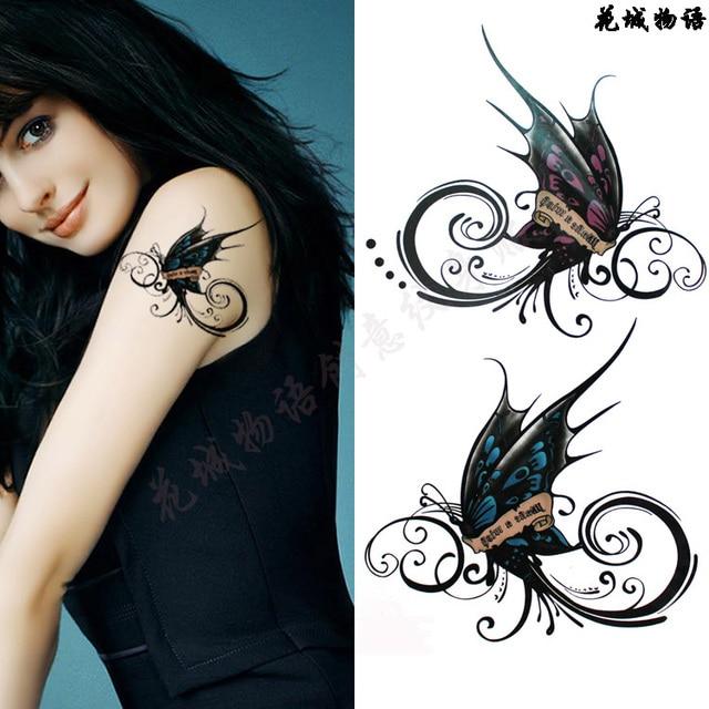 ac54b88cb Beautiful Black blue red butterfly Body Art Waterproof sexy fake tattoo For  Woman Flash TemporaryTattoo Stickers 10*20CM KD630