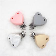 Купить с кэшбэком Chengkai 10pcs Silicone Heart Teether Clips Baby Pacifier Dummy Soother Nursing Charm Jewelry Making Holder Clips with 2 holes