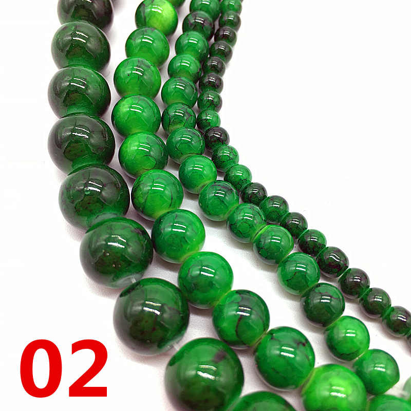 NEW 4 /6 /8 /10 mm Green Chic Glass Loose Spacer Charm Beads Pattern DIY Jewelry Making Accessory