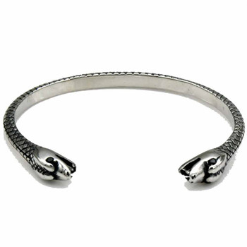 Titanium Steel Bangle Two-Headed Snake Punk Style Jewelry Snakelike Effect 7.87 in 3PCS Wholesale