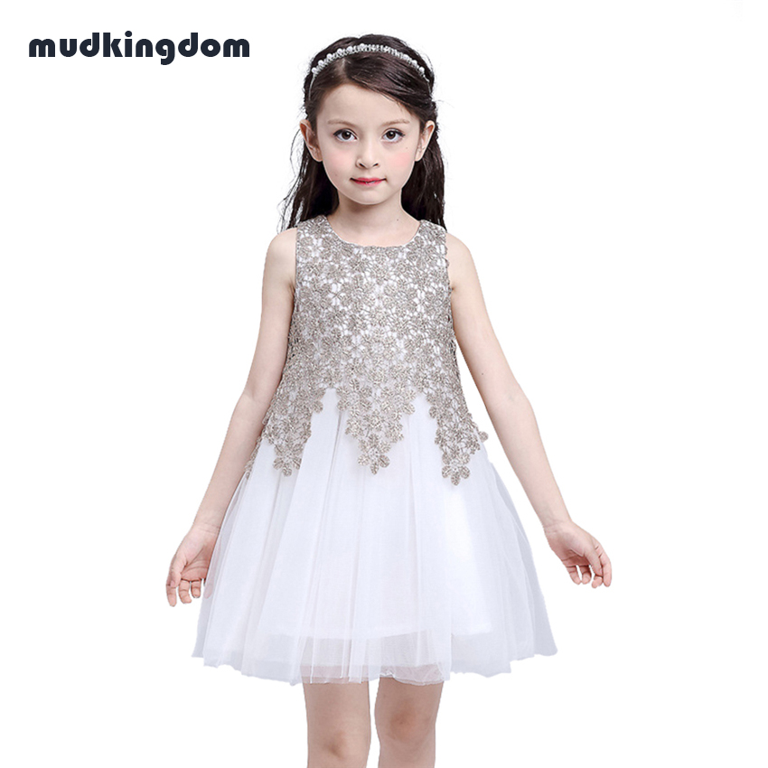 Mudkingdom Toddler Girls Flower Lace Summer Ball Gown Dress Princess Little Baby Girl Formal Wedding Party Dresses Kids Clothes kids girls bridesmaid wedding toddler baby girl princess dress sleeveless sequin flower prom party ball gown formal party xd24 c