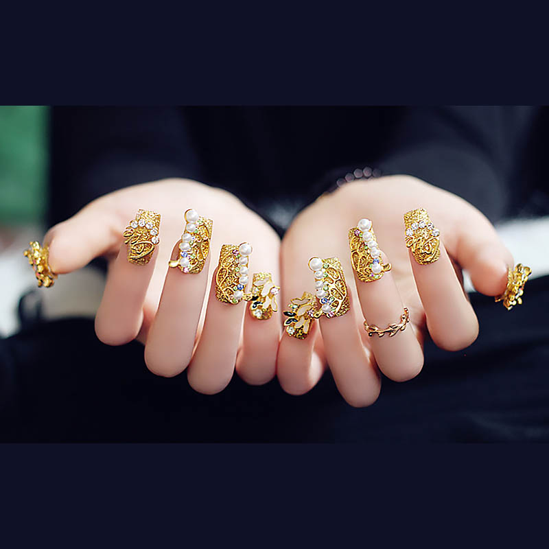 24pcs DIY Simulation Pearl Salon Nails With Glue Women Glitter Flowers Gems  Deco Fake Nail Ladies 3D Gold Butterfly False Nails In False Nails From  Beauty ...