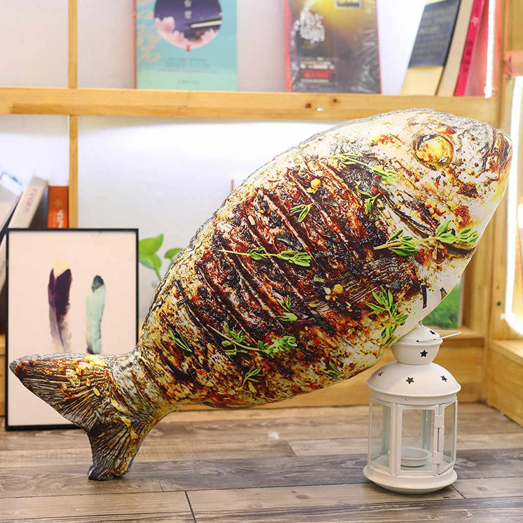 Ouneed Kantor Tidur Siang Bantal Simulasi Ikan Bentuk Bantal Lembut Lumbar Bantal Mewah Makanan Bantal Sandaran Kepala Bantal Tidur MAY07