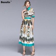 Banulin Neue 2019 Runway Designer Sommer Kleid frauen Kurzarm Plissee Casual Floral Druck Partei Vintage Kleid B8022