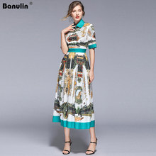 Banulin New 2019 Runway Designer Summer Dress Womens Short Sleeve Pleated Casual Floral Print Party Vintage Dress B8022