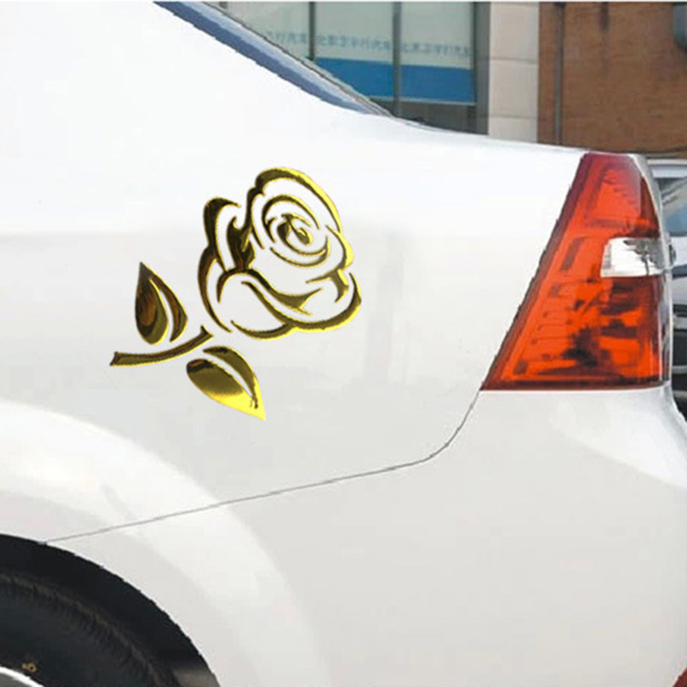 Car Styling Reflective Auto Motorcycle Stickers Car Body Decor Flower Car Stickers 3D Cutout Rose Universal Golden/Silver arrow pattern car body reflective warming mark sticker golden red silver 10 pcs
