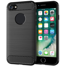 for iphone 8 7 Soft Carbon fiber mobile Anti-knock Back Cover Solid Color Dirt-resistant Brushed Finish case