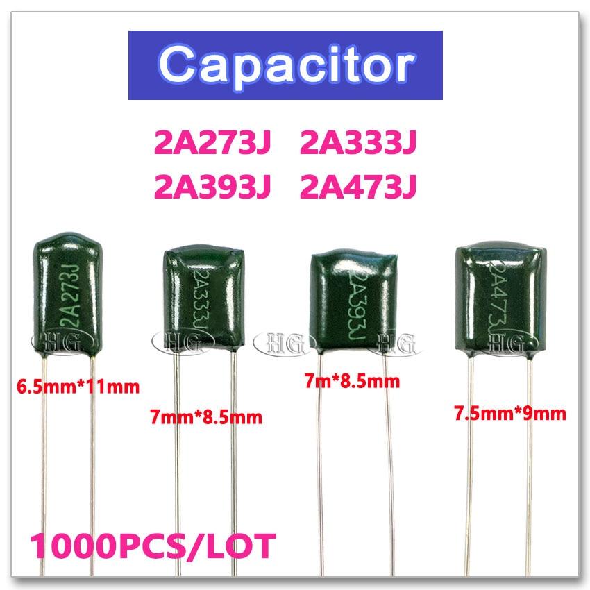 1000PCS 2A273J 100V 0.027uF 27nF 5/% Polyester Film Capacitor.