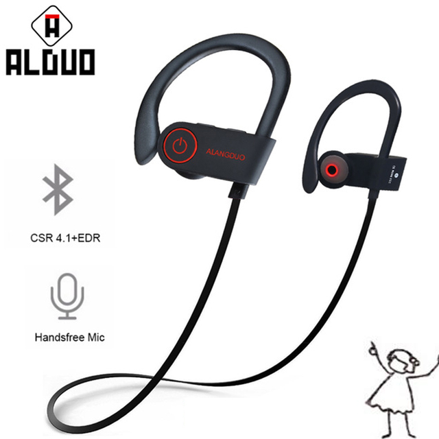 Alangduo Wireless Bluetooth Earphones IPX7 Waterproof Skip about Running Earpiece Noise Counterbalancing English fone de ouvido sem fio.