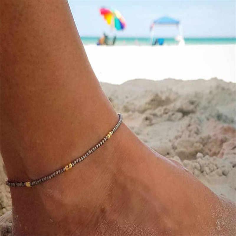 4 สีโบฮีเมียลูกปัดสำหรับผู้หญิงแฟชั่นสีลูกปัดข้อเท้าสร้อยข้อมือบนขา Beach Foot Chain เครื่องประดับ
