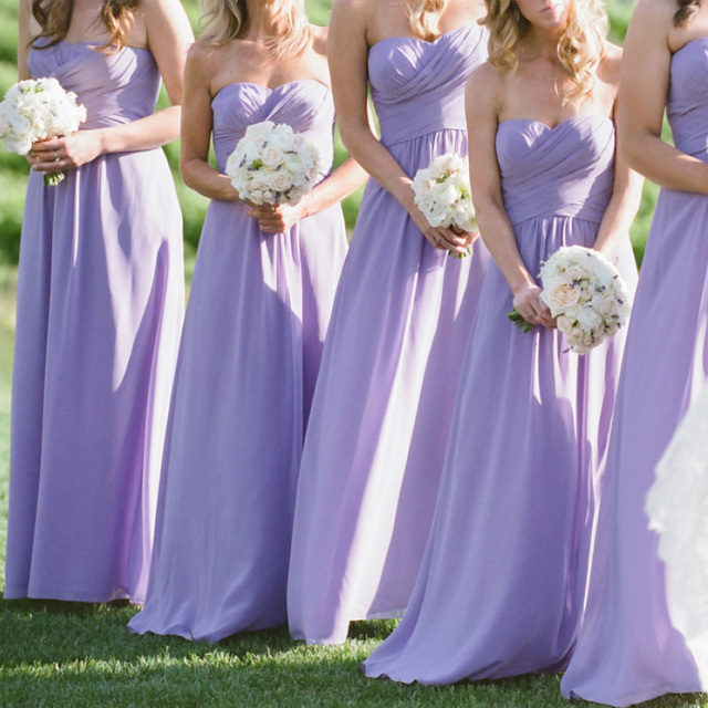 Long Lavender Bridesmaid Dresses Sweetheart Strapless A Line Dress 2017 Chiffon Vestido Madrinha Wedding Party