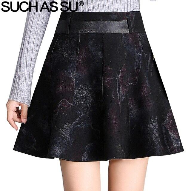 a60cf9fa87 SUCH AS SU Autumn Winter Suede Skirt 2017 Fashion Black PU Patchwork S-3XL  Size Women High Waist Mini A Line Skirt