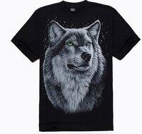 Новинка 2015 Футболки Летний стиль Модные мужские хлопок 3 D рисунок волк изображения в Звездном стиле Бесплатная доставка