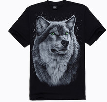 2015 New T-shirts summer style men fashion cotton 3 d design wolf image star free shipping