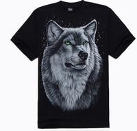 2015 Yeni T-Shirt yaz tarzı erkekler moda pamuk 3 d tasarım kurt görüntü yıldız tarzı ücretsiz kargo