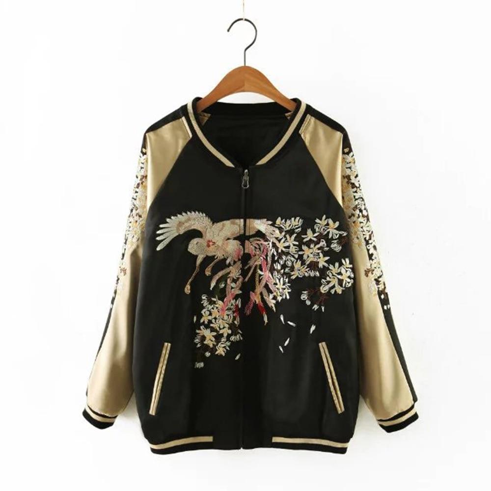 Floral embroidery satin jacket coat Autumn winter street jac