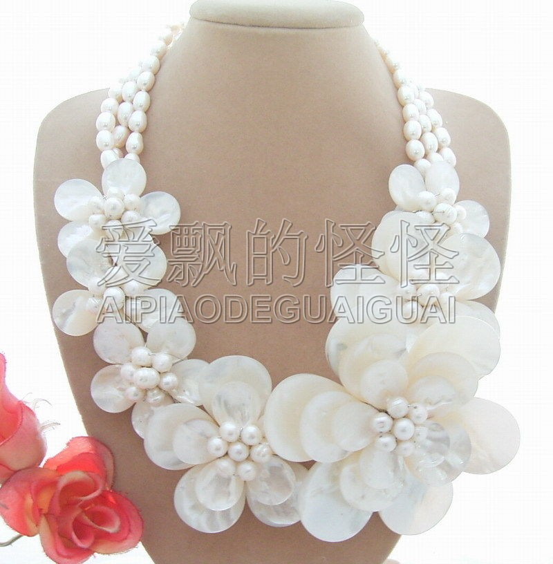 N012934 collier à fleurs en forme de perle blanche de 18