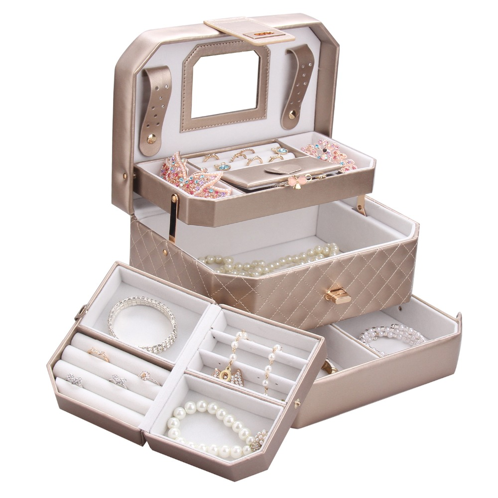 Automatic Leather Jewelry Packaging Box Girls Three layer Storage Earring Ring Organizer For Women Gifts Cosmetic