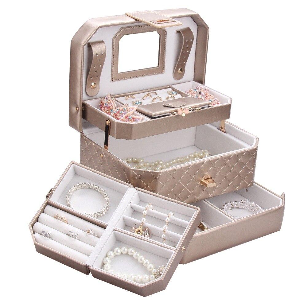 ROWLING Portable Boîtes à Bijoux D'or Bijoux Cas Miroir Bijou Titulaire Faux Cuir Bracelet Or Organisateur Avec Voyage Cas